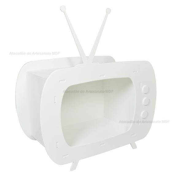 Miniatura televisão p/ festas 25x18x12 mdf madeira pintado