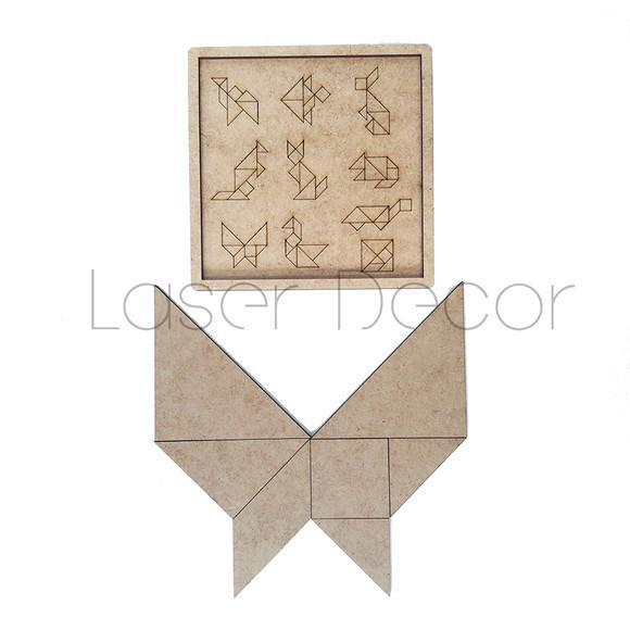 Quebra cabeças tangram mdf cru 12 x 12 cm