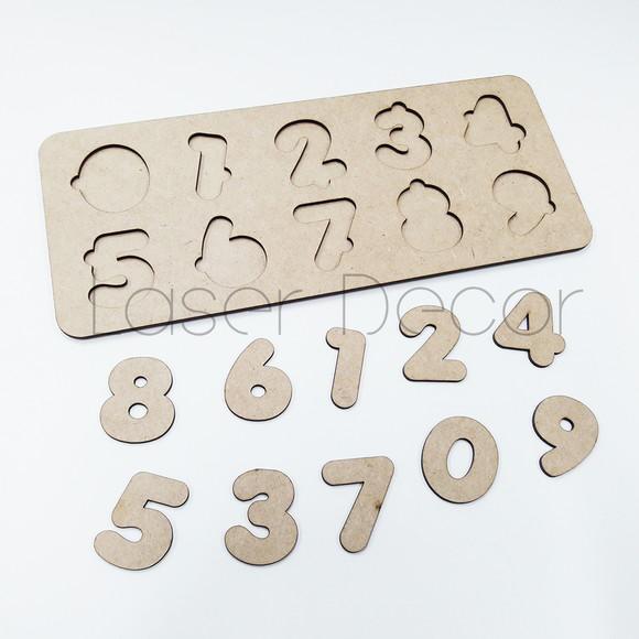 Tabuleiro educativo montessori numeros 33x14cm mdf cru