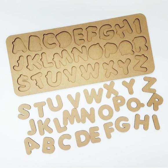 Tabuleiro educativo montessoti alfabeto mdf cru 45x19 cm