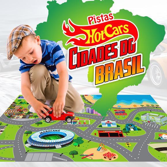 Tapete pista de carrinho cidades do brasil 1,20m x 80cm