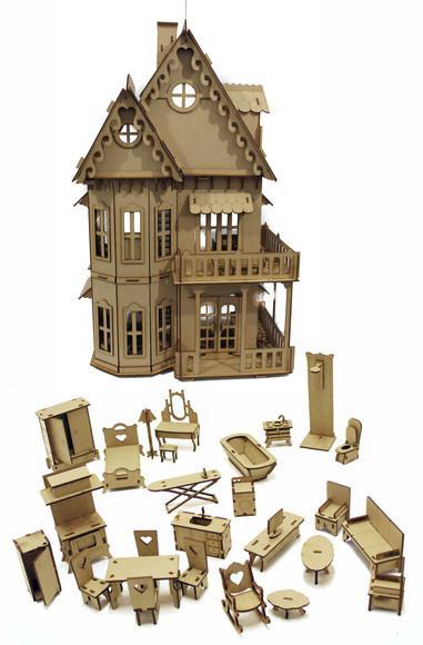 Casinha de boneca com móveis