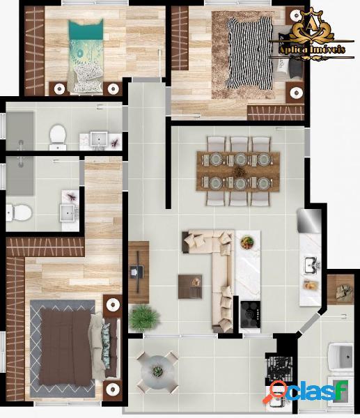 Ap 3 quartos em Navegantes - Quadra Mar - Elevador - 2 vagas 2