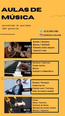 Aulas de violão, piano, baixo, guitarra e canto