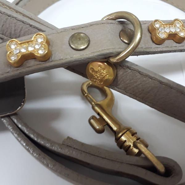 Coleira e guia couro bege woof detalhe dourado e strass n16
