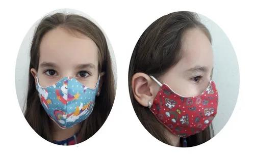 Kit 2 máscaras infantil estampa unicórnio tecido lavável