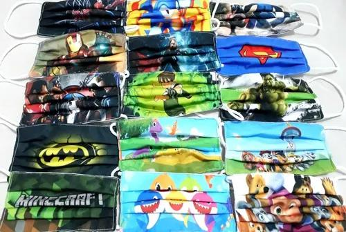 Kit 5 máscaras tecido lavável infantil personagens