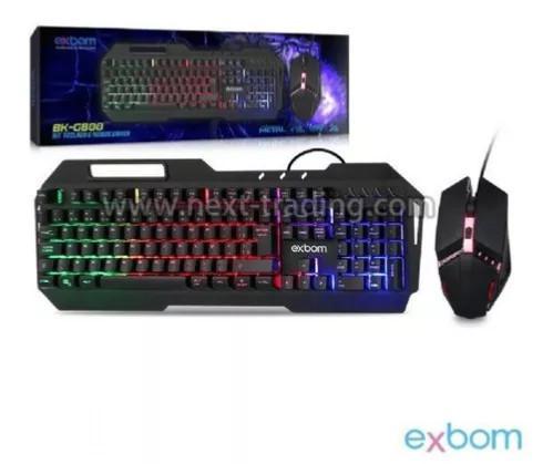 Kit teclado metal mouse gamer led rgb computador usb abnt2