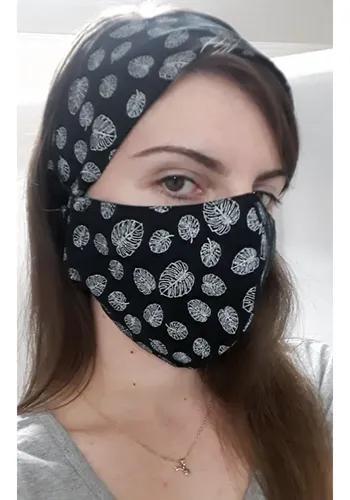 Máscara com tiara de pano duplo lavável adulto/ criança
