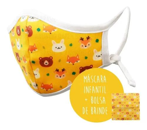 Máscara infantil tecido reutilizável estampada 3 camadas