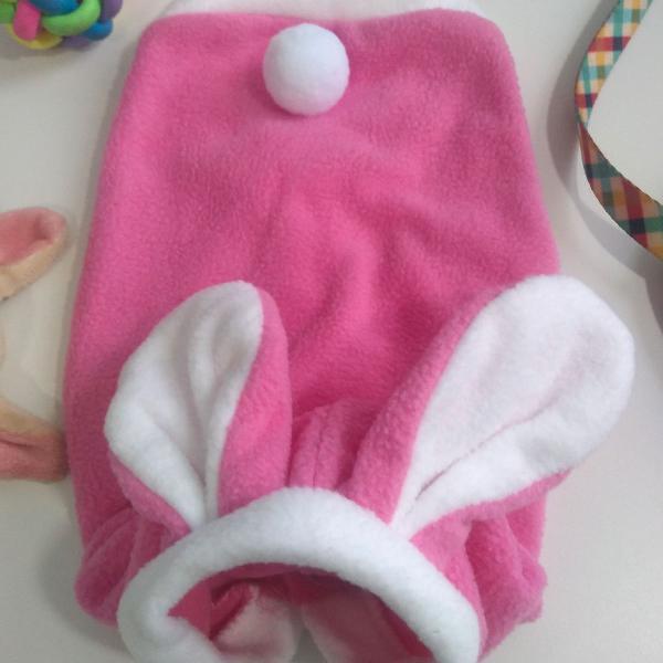 Roupinha p para pet de coelhinho rosa