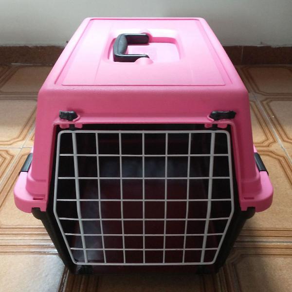 Caixa transportadora de cães e gatos ferplast rosa