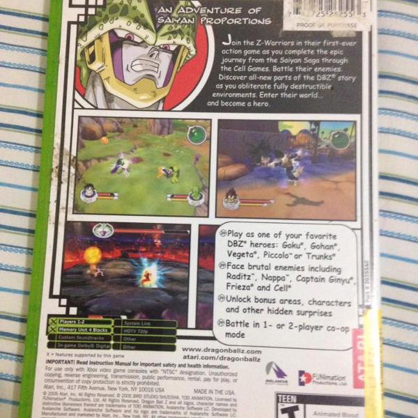 Jogo dragon ball z sagas completo original xbox classic