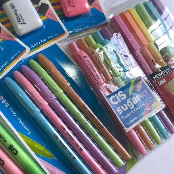 Kit canetas cis esferográficas e marca texto