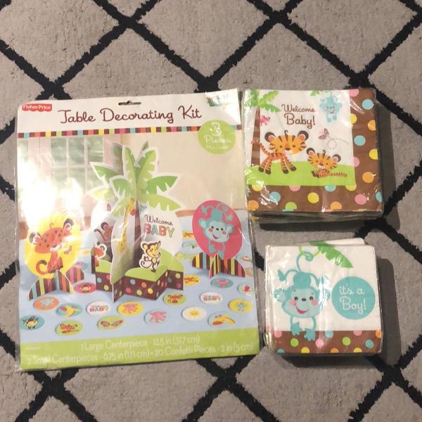 Kit decoração e guardanapos chá de bebê safari