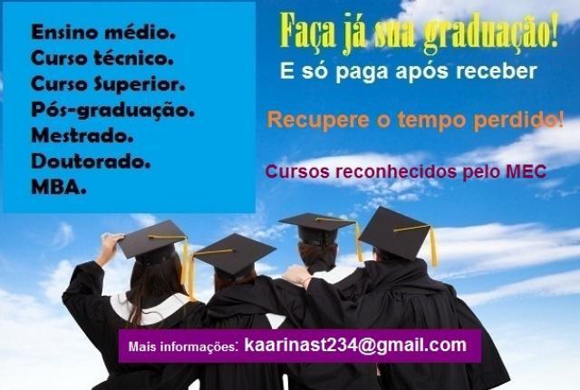 Adquira seu curso de graduação e pós - pague após