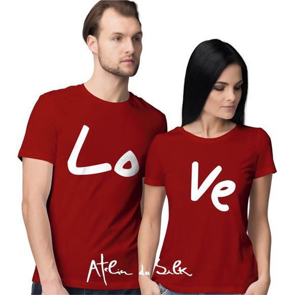 Kit 2 camisetas love namorados casal