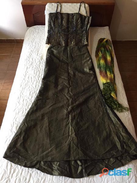 Lindo vestido de gala verde, tamanho m + lenço