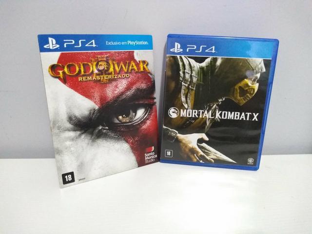 Dois jogos ps4 (mk x e gow 3)