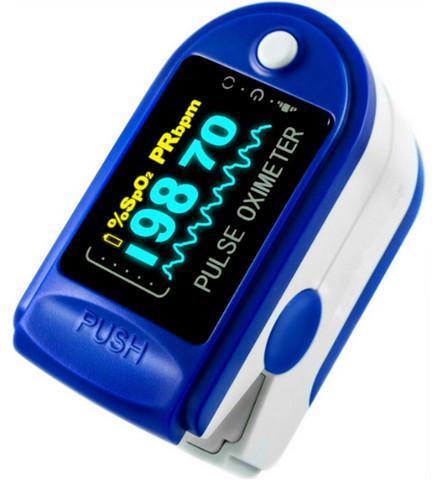 Oximetro de pulso portatil de dedo com curva azul
