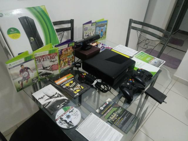 Xbox 360 na caixa+kinect+2controles originais+hd250gb