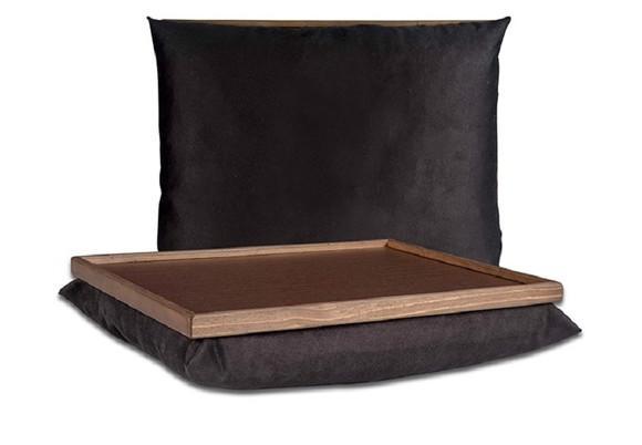 Bandeja com almofada para notebook - preta lisa