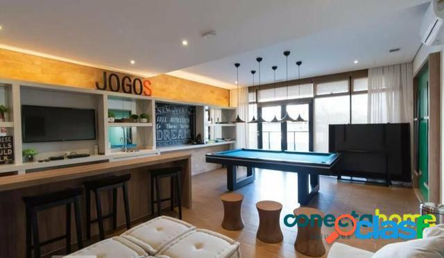 Studio mobiliado de 37 m², 1 vaga, a 50 metros do metrô no Campo Belo 3