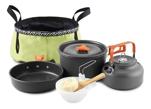 Ao ar livre 10 pcs camping panelas mess kit mochila cozinhar