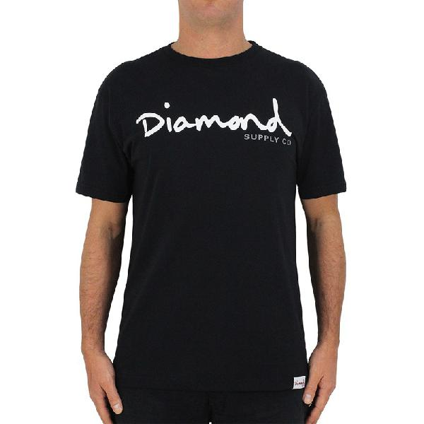 Camiseta diamond supply og script black - surf alive
