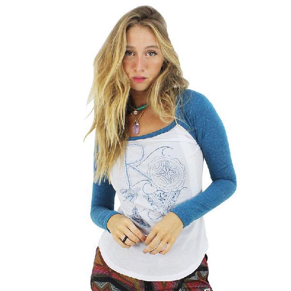 Camiseta roxy surf manga longa raglan olivine - surf alive