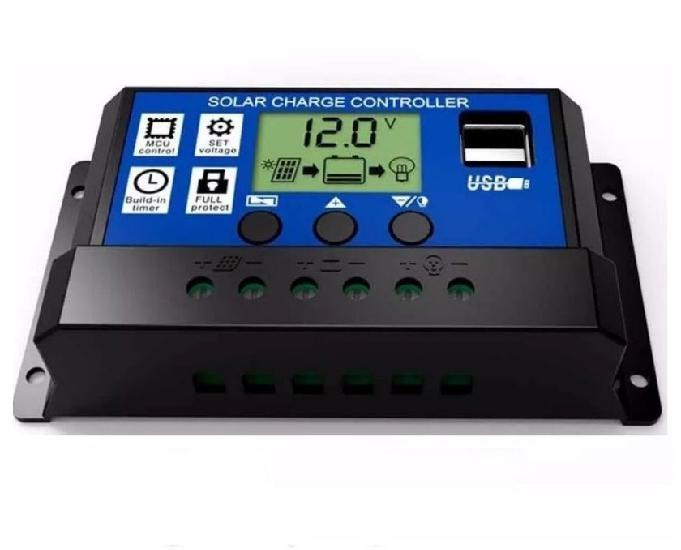 Controlador carga solar 30a usb pwm regulador automático