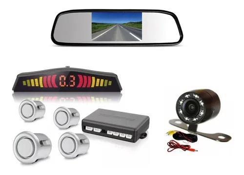 Retrovisor + camera de ré infra vermelho sensor cinza prata