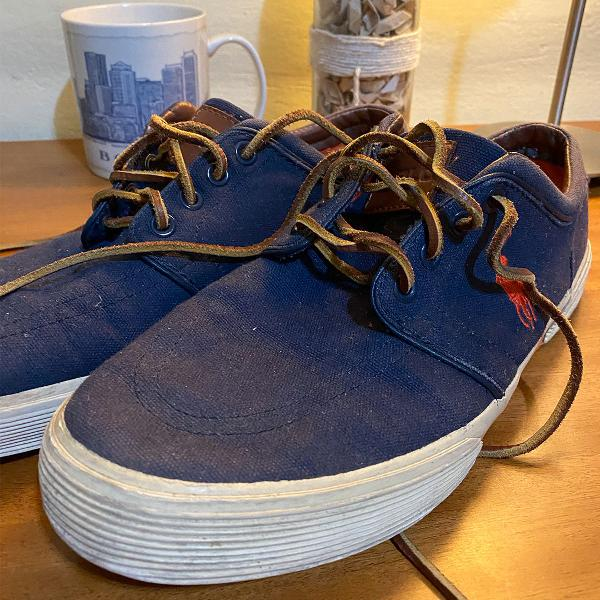 Sapato/tênis polo ralph loren azul detalhes laranja