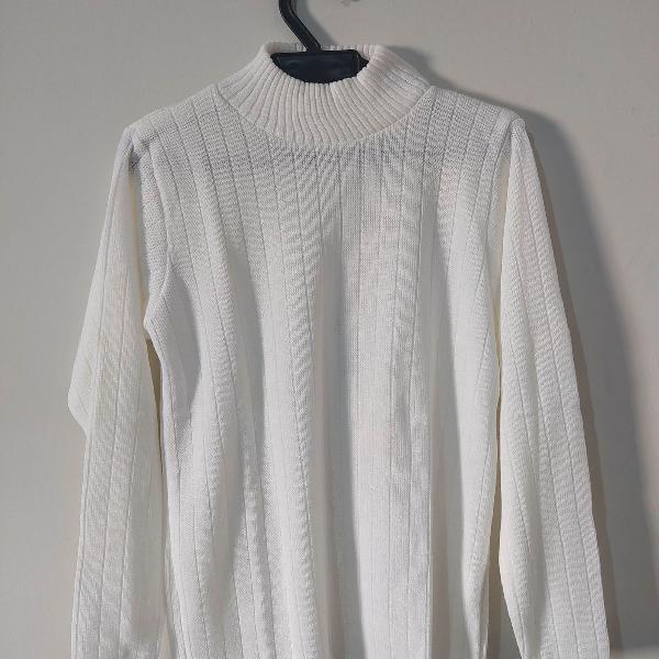 Blusa de lã branca masculina gola alta