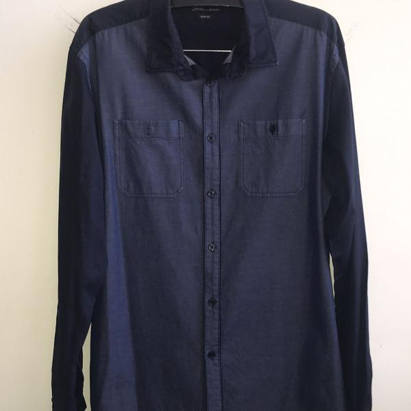Camisa duocolor azul zara