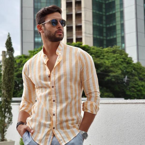 Camisa masculina sport chic manga longa oxn listra
