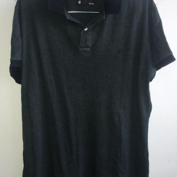 Camisa polo fio tinto verde escuro