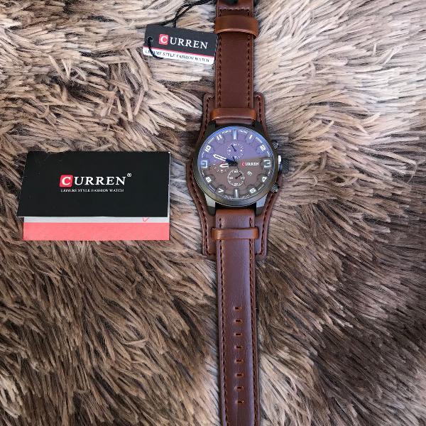 Relógio curren masculino cor marrom café pulseira couro