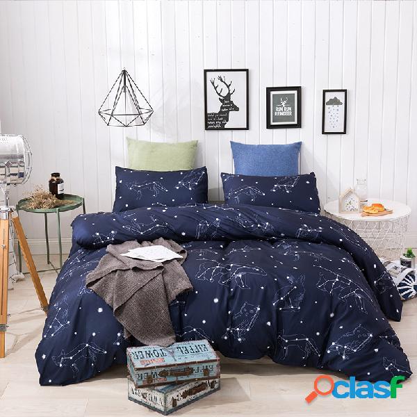 Capa de edredão de 3 peças 100% algodão lavado capa de edredão estrelas rosa ultra soft e easy care conjunto de cama de estilo simples