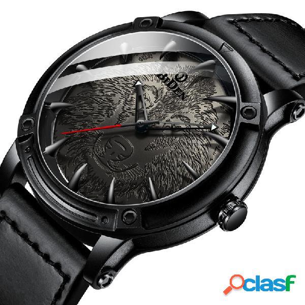 Relógio de pulso de couro analógico banda do relógio de pulso dos homens da forma do seletor do lobo