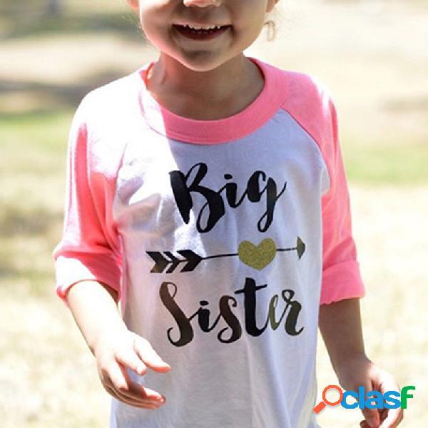 Camisa de menina de paravras big sister de manga longa de algodão para 2y-9y