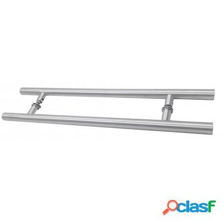 Puxador 40cm tubular 25mm alumínio escovado para porta de madeira ou vidro