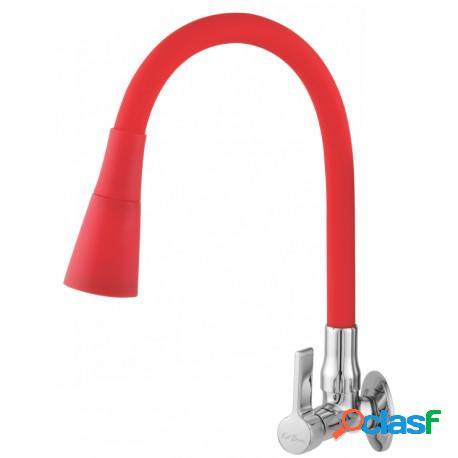 Torneira para pia cozinha parede bica movel flexível vermelha c65
