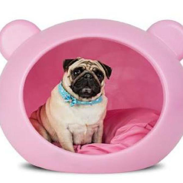 Cama casinha rosa - para gato ou cachorro