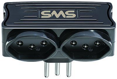Carregador preto c/ 2 usb 5v/1,5a sms c/ 2 tomadas, 10a