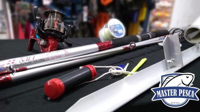Kit completo pesca de praia - calão + molinete, + vara +
