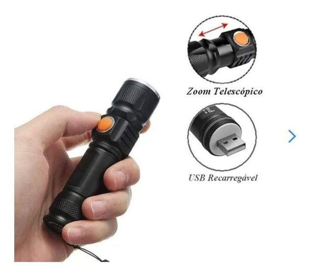 Lanterna tática recarregável usb