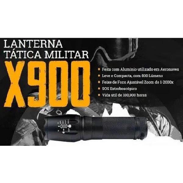 Lanterna tática x900 128000w led t6 - super forte 3000000