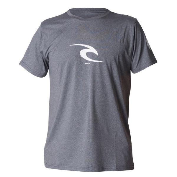 Camiseta de lycra uv rip curl icon dark grey marle - surf