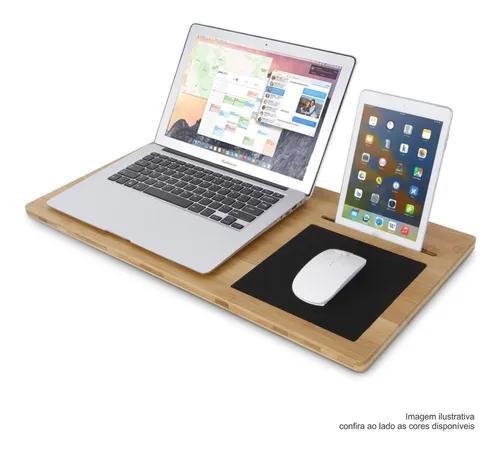 Mesa Notebook P/ Cama / Sofá - 28x60cm - Branco Preto